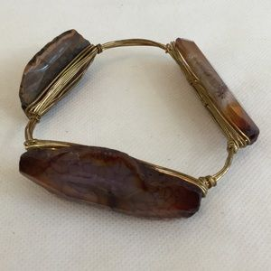 Stone/Wire Bangle Bracelet Brown Gold